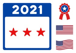 2021 independence date icon in blue and red colors with stars. 2021 independence date illustration style uses American official colors of Democratic and Republican political parties, and star shapes.