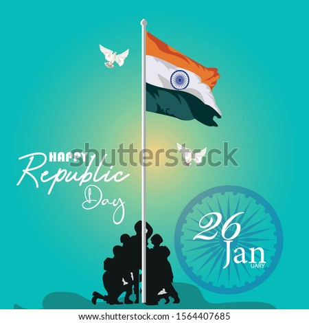 Indian army with flag for Happy Republic Day of India celebration  26 January