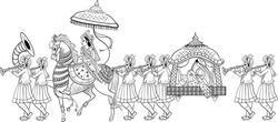 INDIAN GROOM AND BRIDE BARAAT BANDOLI WEDDING CARD CLIP ART LINE DRAWING SYMBOL. Indian marriage symbol baraat, music player, groom on a horse, bandoli and bride.