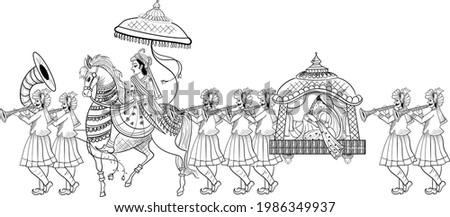 INDIAN GROOM AND BRIDE BARAAT BANDOLI WEDDING CARD CLIP ART LINE DRAWING SYMBOL. Indian marriage symbol baraat, music player, groom on a horse, bandoli and bride. Сток-фото ©