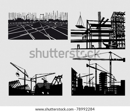 industrial silhouettes - stock vector