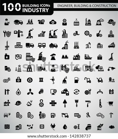 100 Industry, Building, Construction & Engineering icons,vector