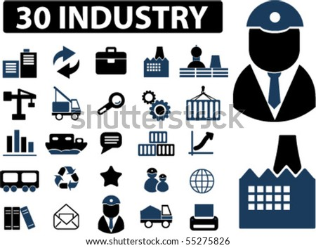 30 industry signs. vector - stock vector