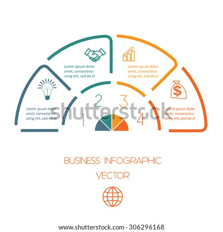 Infographic Semicircle template from colourful lines with text areas on four positions
