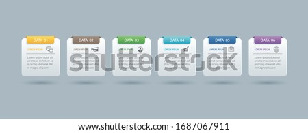 6 infographics rectangle paper index with data template. Vector illustration abstract background. Can be used for workflow layout, business step, banner, web design. Stock fotó ©