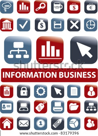 36 information & business buttons, icons, vector set - stock vector