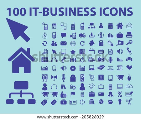 100 information technology, it service, cloud computing icons, signs, symbols set, vector