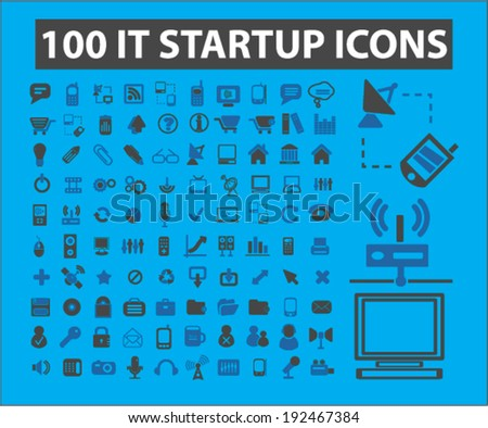 100 information technology startup icons, signs set, vector