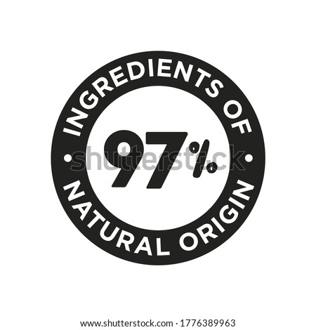 97% ingredients of natural origin icon. Round symbol for food, cosmetic and personal care products7 Stock photo ©