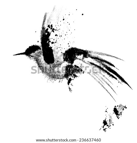 ink drawn flying bird 8