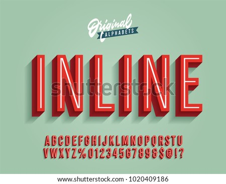 """Inline"" Vintage 3D Condensed Alphabet. Old School Retro Typography. Vector Illustration."