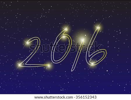 2016 inscription on sky vector #356152343