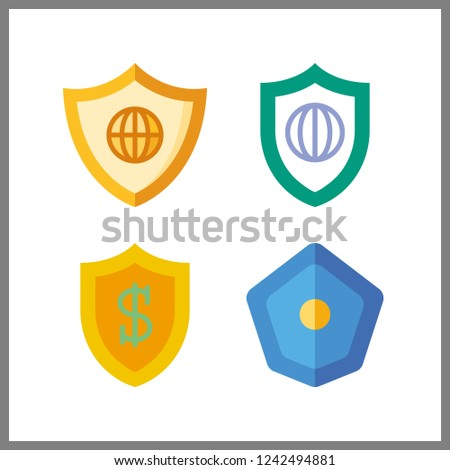 4 insignia icon. Vector illustration insignia set. shield icons for insignia works