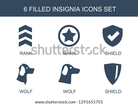 6 insignia icons. Trendy insignia icons white background. Included filled icons such as rank, shield, wolf. insignia icon for web and mobile.
