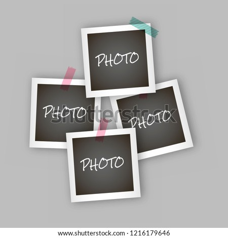 Instant square photo frame collage with realistic design, frame