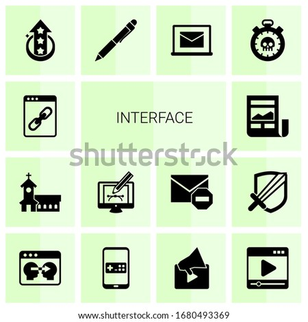 14 interface filled icons set