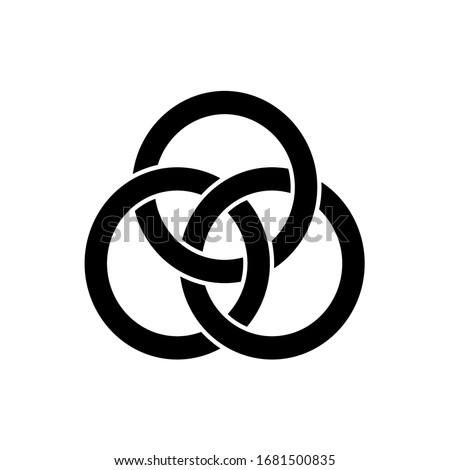 3 interlocking circles. Black and white ethnic element. Abstract interlace geometric circle element. Vector