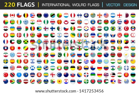 220 international Flag set in Circle , vector Design Elemant illustration