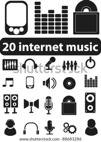 20 internet music icons set, signs, vector
