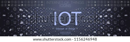 Internet of things (IoT) and networking concept for connected devices. Spider web of network connections with on a futuristic blue background. IOT icons