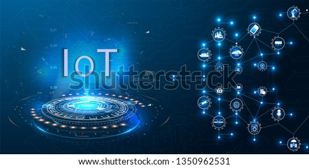 Internet of things (IoT) and networking concept for connected devices. Spider web of network connections with on a futuristic blue background. Innovation sign. Digital design concept. IoT hologram