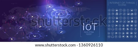 Internet of things (IoT) and networking concept for connected devices. Spider web of network connections with on a futuristic blue background. Network digital technology concept. Vector