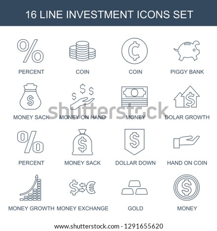 16 investment icons. Trendy investment icons white background. Included line icons such as percent, Coin, coin, piggy bank, Money sack, money on hand. investment icon for web and mobile.
