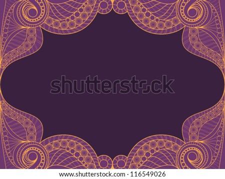 Invitation card with lace ornament. lace background. vector ill
