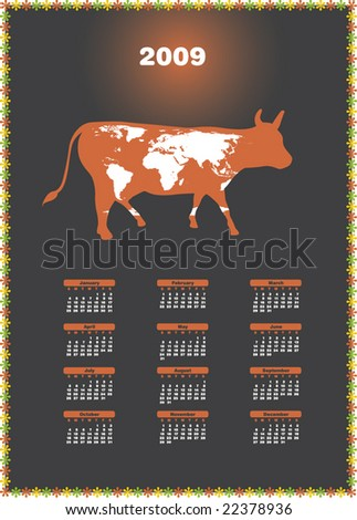 2009 is the Year of the Cow (Chinese Zodiac). Calendar. Vector.