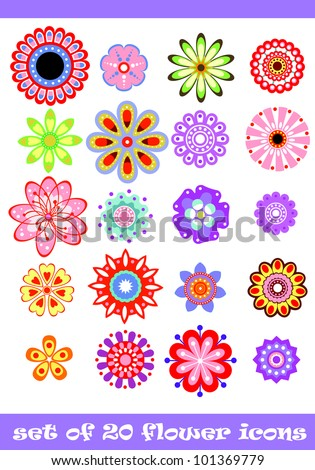 20 isolated decorative colorful vector flower set #101369779