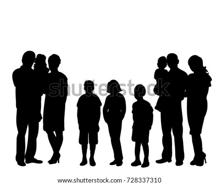 isolated, silhouette family