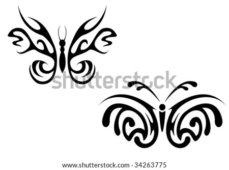 black butterfly tattoos. Lady Butterfly Tattoo - Black; lack butterfly tattoos. beautiful lack