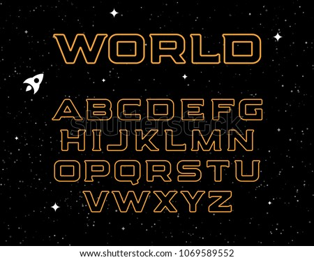 Isolated yellow color alphabet elements on black space background. Graphic illustration of cosmic font and night sky with stars. Bold abc letters set.