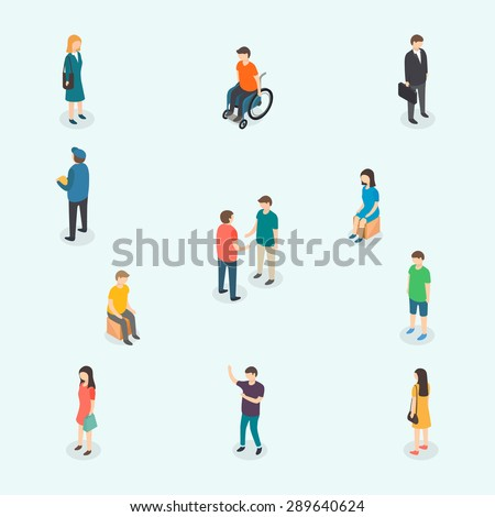 Isometric 3d vector people. Set of woman and man. Vector illustration