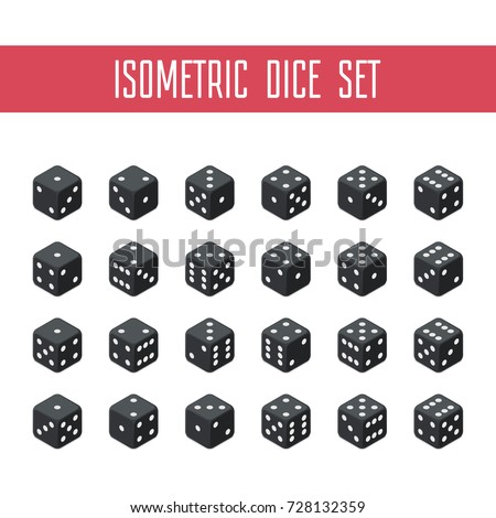 24 isometric dice. Twenty-four variants black game cubes isolated on white background. All possible turns authentic collection icons in realistic style. Gambling concept. Vector illustration EPS 10. Stock photo ©