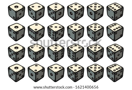 24 isometric dice. Twenty-four variants red game cubes isolated on white background. All possible turns authentic collection icons in realistic style. Gambling concept. Vector illustration EPS 10.  Stock photo ©