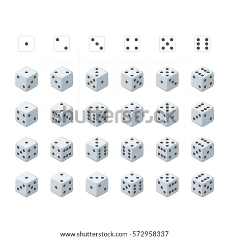 24 isometric dice. Twenty-four variants white game cubes isolated on white background. All possible turns authentic collection icons in realistic style. Gambling concept. Vector illustration EPS 10. Stock photo ©