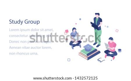 Isometric illustration of study group design   #1432572125