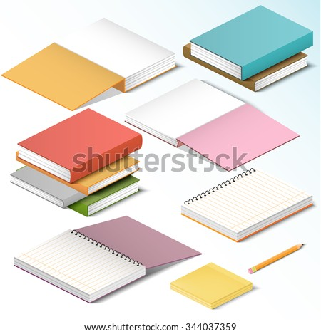 Isometric illustration on a white background with the image of books notebooks notebooks