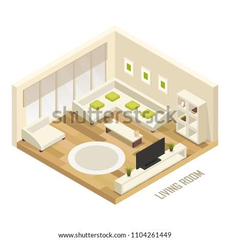 isometric living room 3d