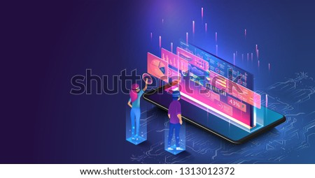Isometric men and a woman wearing goggle headset with touching vr interface. People interacting with analyzing statistics and charts. Analysis trends and financial strategy by using infographic.
