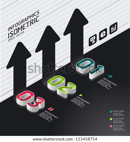 isometric modern infographic graph   / can be used for infographics / graphic or advertise layout vector
