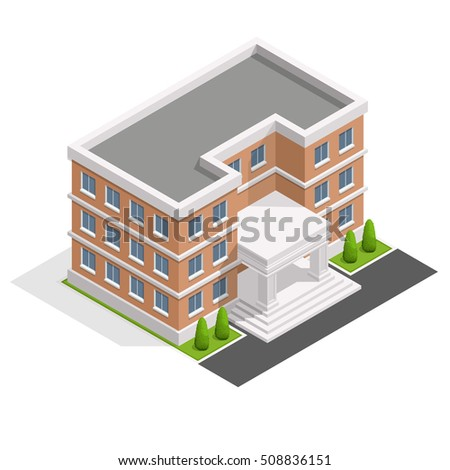 Isometric School or university. Buildings for city construction.