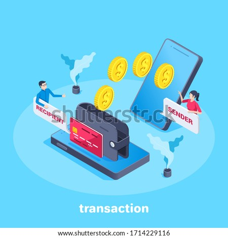 isometric vector image on a blue background, business concept, Gold coins are transferred from one smartphone to  a wallet on the screen of another