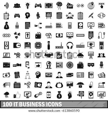 100 IT business icons set in simple style. Illustration of IT business icons set isolated vector for web