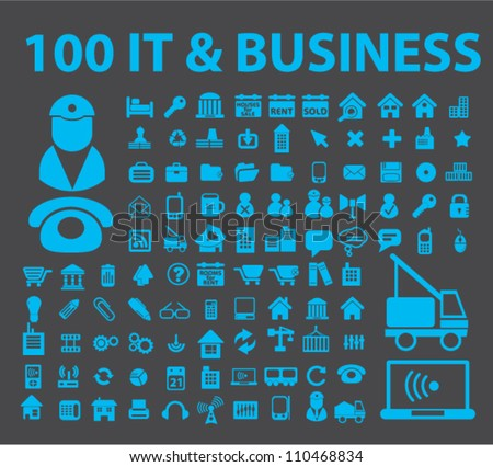 100 it business icons set, vector