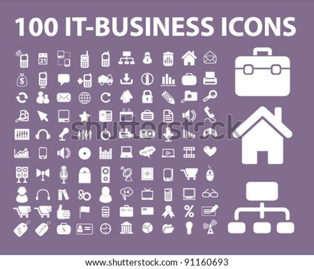 100 it-business icons set, vector illustration