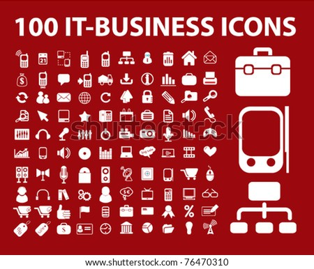 100 it-business icons, signs, vector illustrations