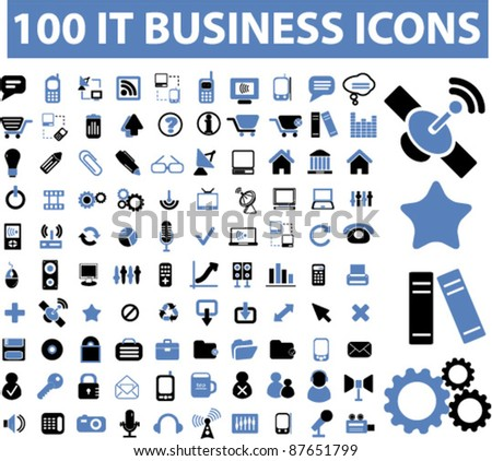 100 it business icons, signs, vector illustrations set