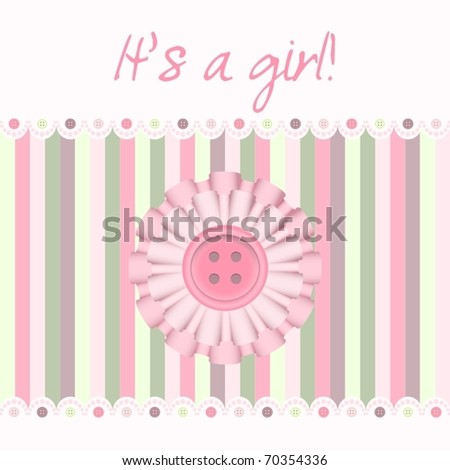 """""""It's a girl!"""" baby card announcement, vector illustration"""